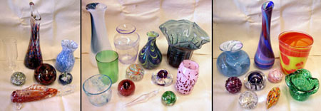 sample glass pieces made by Guild members